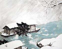 川合玉堂「雪降る日」